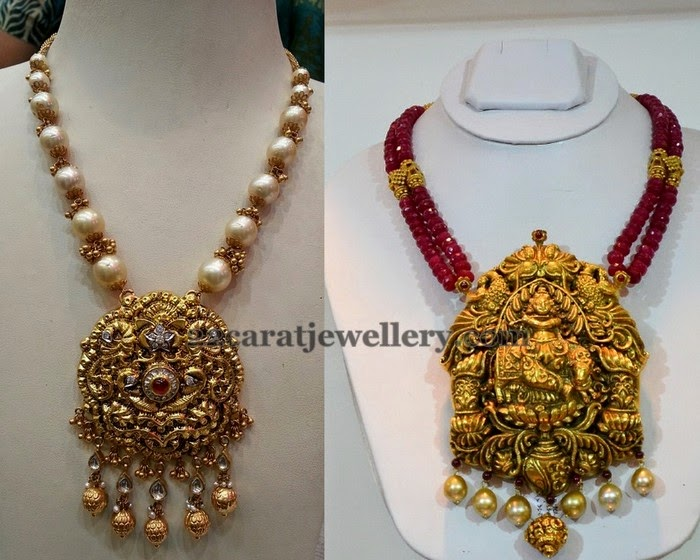 big style long pearl set with lockets locket haram necklaces gold rubi jewelry chandbali