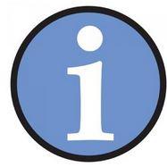 simbolo delle informazioni con un cerchio azzurro con la i al centro