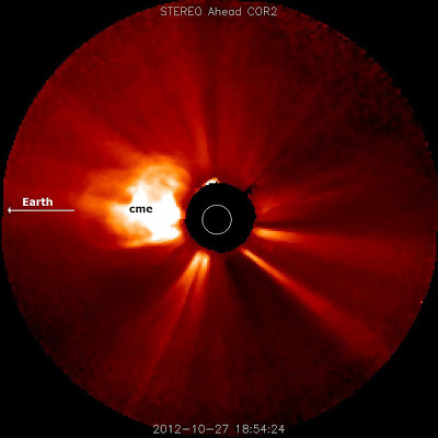 Eyeccion de masa coronal 27 de Octubre 2012