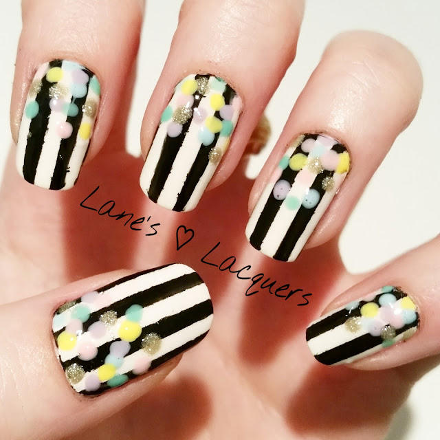 lanes-loves-monochrome-striped-pastel-confetti-nail-art (1)