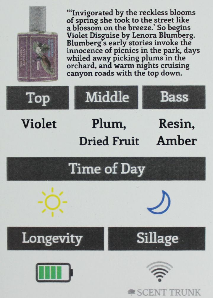 Violet Disguise by Imaginary Authors scent trunk info card