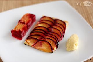 szilva ringló sorbet fagylalt fagyi koriander mag koriandermag kék szilva terrin thai citromfű gyömbér szilva tarte marcipán tejszín leveles tészta