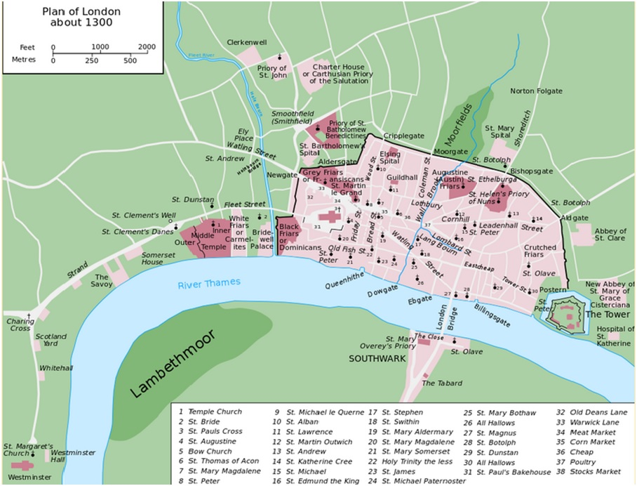 HISTORY OF WORLD CITIES MEDIEVAL LONDON - London map svg