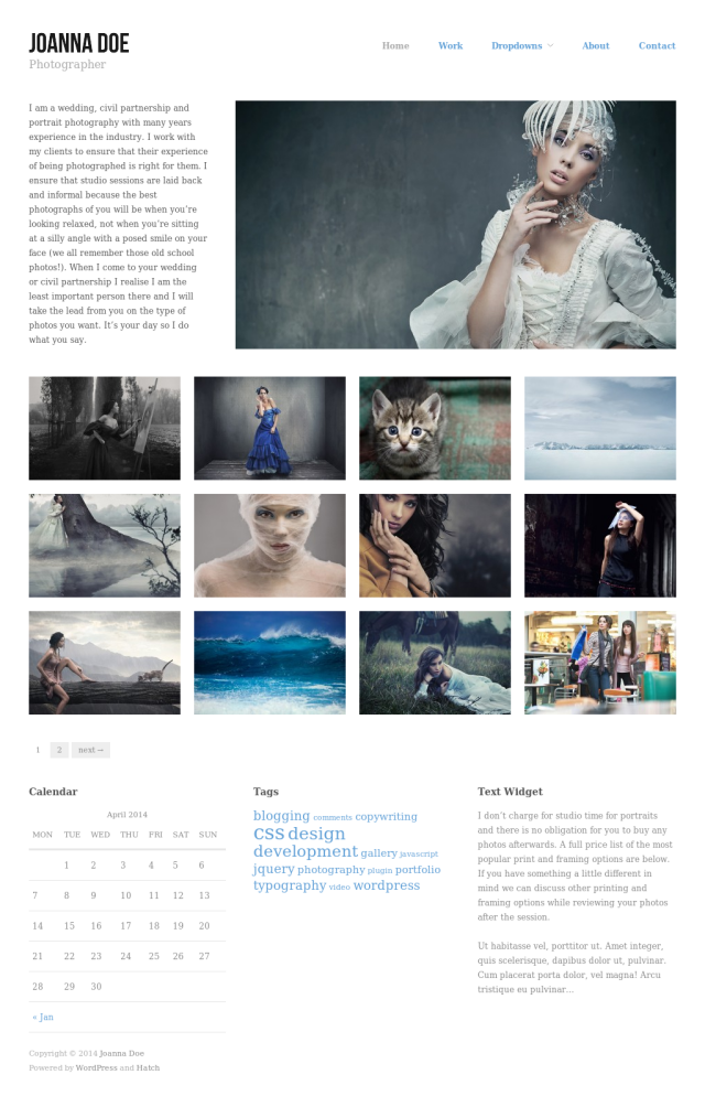 Hatch Free Portfolio WordPress theme