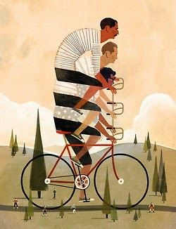 illustration of four men on a bicycle by Keith Negley