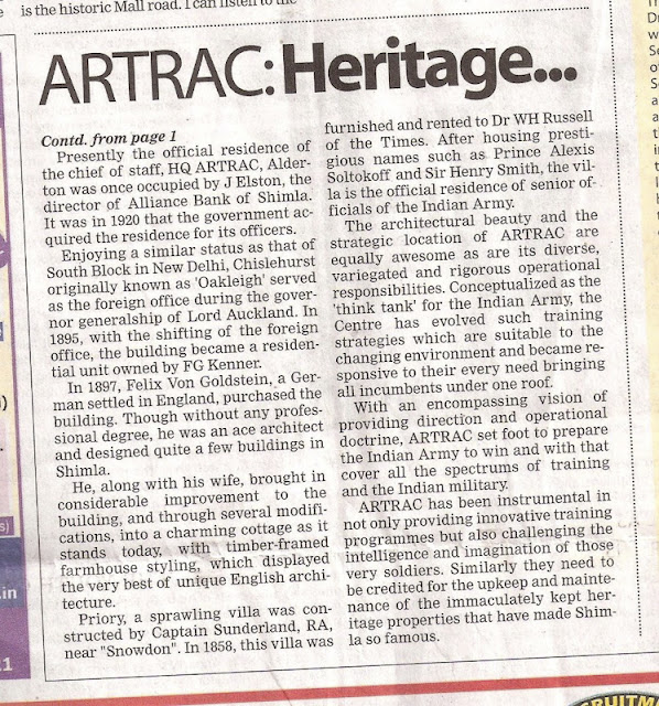 ARTRAC has been instrumental in not only providing innovative training programmes but also challenging the intelligence and imagination of those very soldiers. Similarly they need to be credited for the upkeep and maintenance of the immaculately kept heritage properties that have made Shimla so famous.