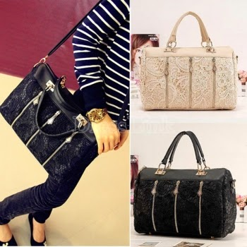 Women's Handbag Oblique Carry Casual Big Bag Retro Lace Bags