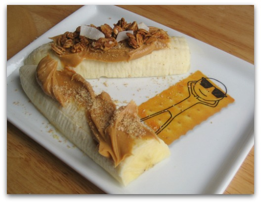cb2 oliver appetizer plate with banana peanut butter love grown granola