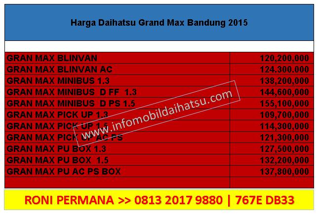 HARGA DAIHATSU GRAN MAX BANDUNG 2015, DAIHATSU BANDUNG 081320179880, HARGA GRAN MAX 2015