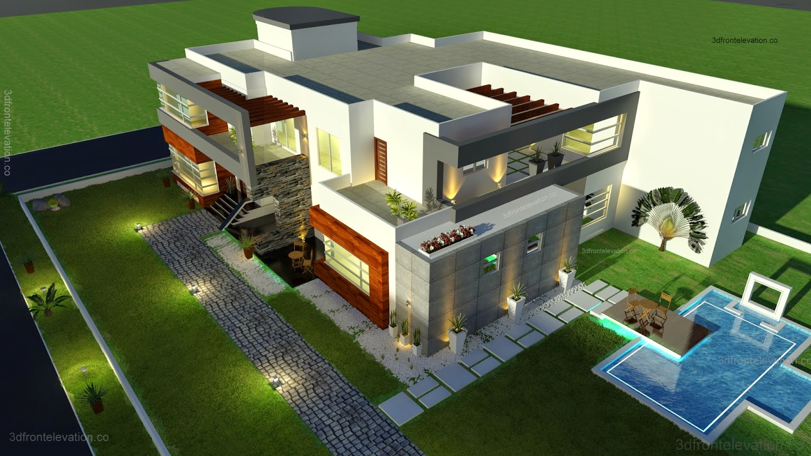 3D Front Elevationcom 500 Square Meter Modern Contemporary House