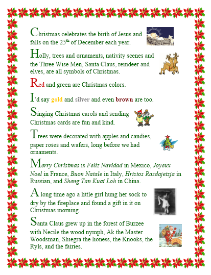 "Search Results for ""Santa Acrostic Poem Template"" – Calendar ..."