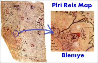Blemye on Piri Reis map