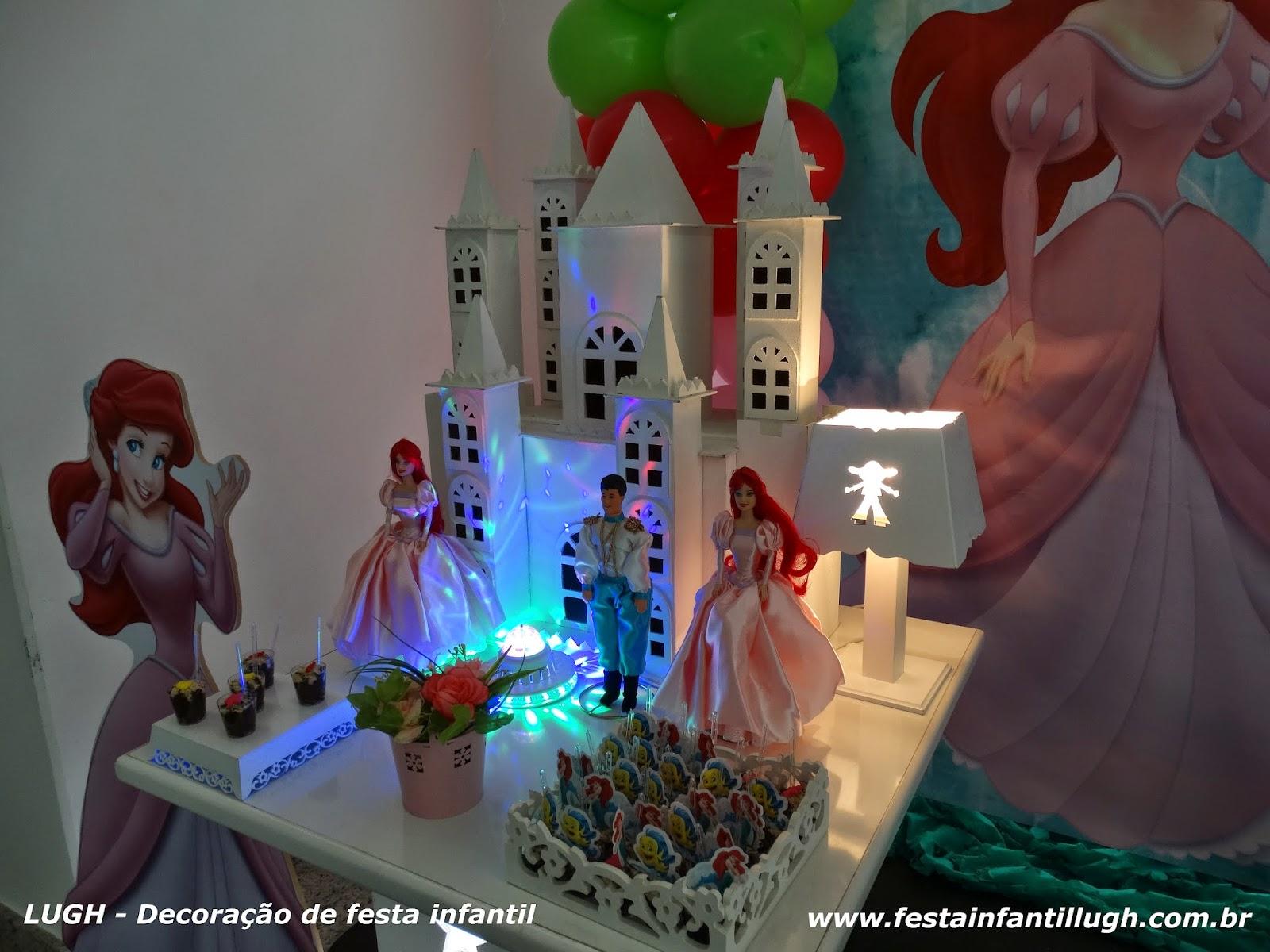 Decoração infantil de festa de aniversário com o tema Ariel