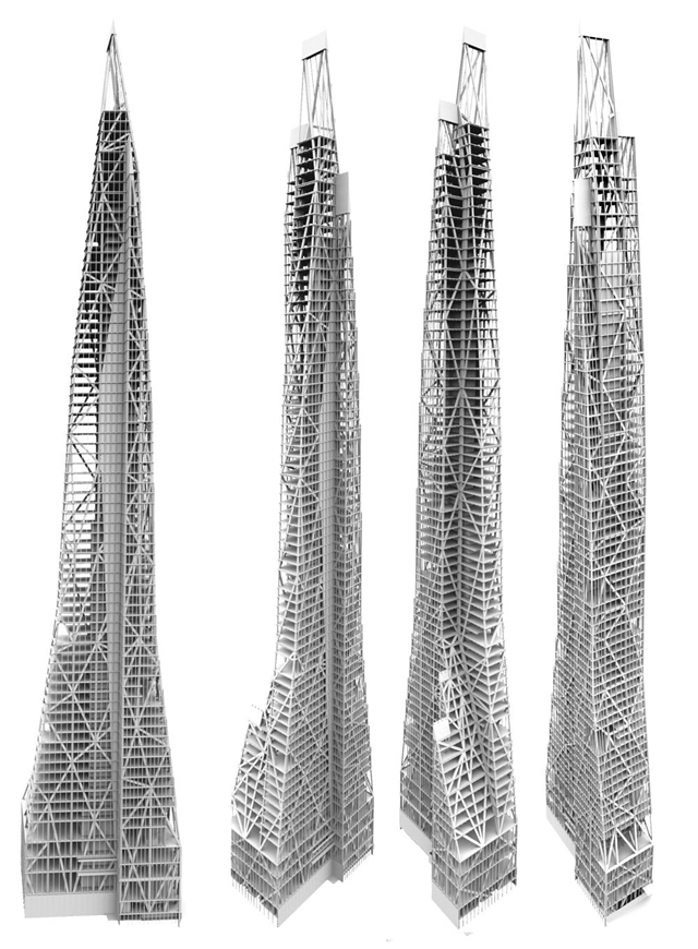 Picture of four sides of Tower Verre steel skeleton