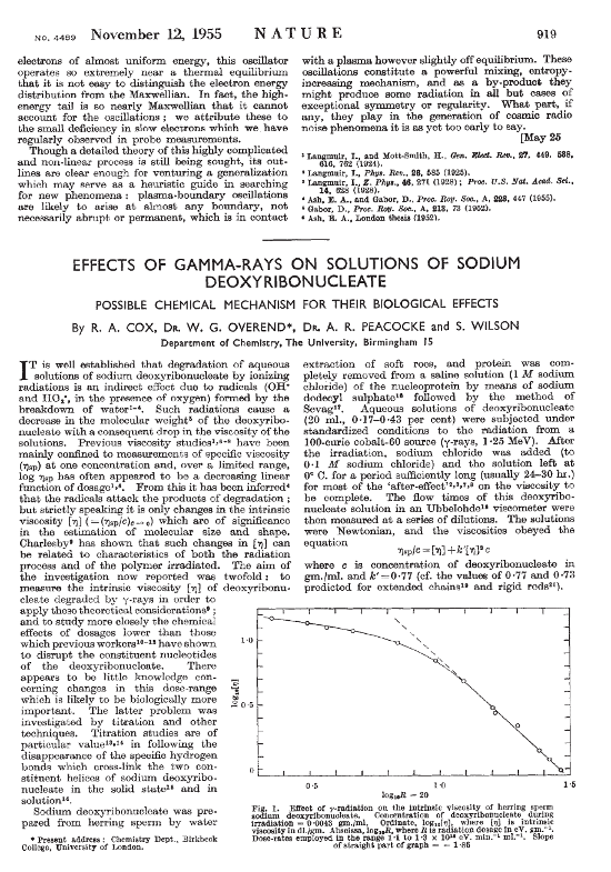 Paper in Nature from 1955