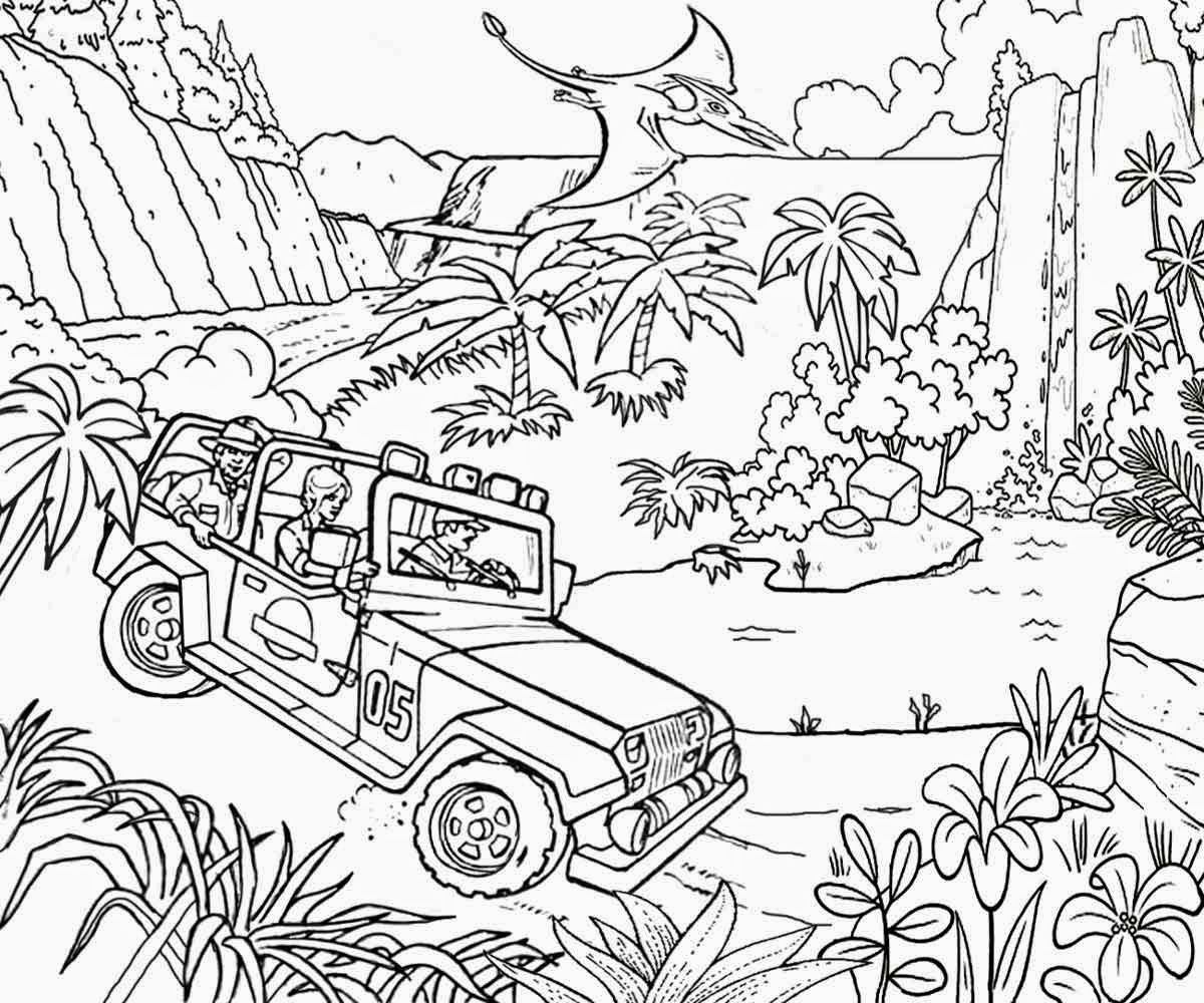 Real looking dinosaur coloring pages - Prehistoric Dinosaur River Track Jungle Jeep Car Fun Coloring Jurassic Park Pintable Pages For Teens