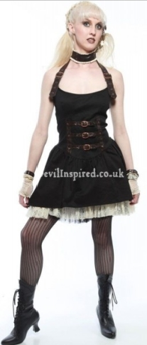 Black Gothic Lace Steampunk Dress