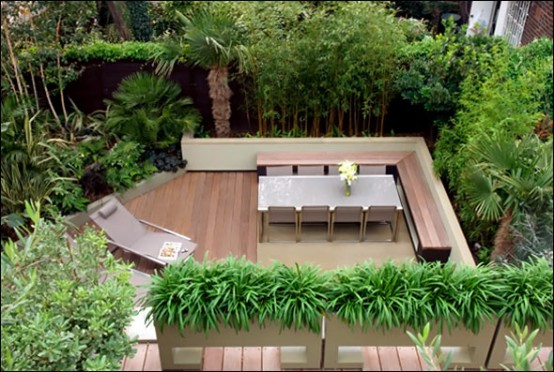 contemporary cool garden and roof terrace design home