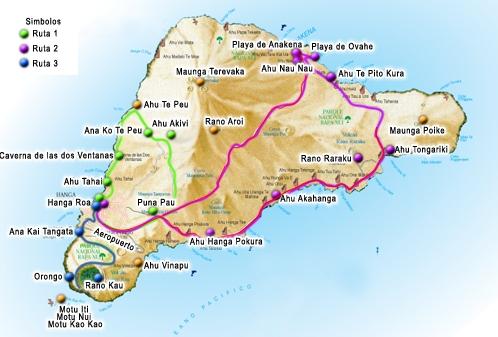 Mapa turistico y guia de la Isla de Pascua
