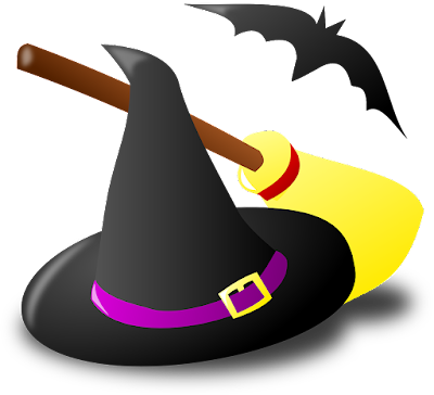 A witch's hat with a broom behind it and a bat hovering above the two.