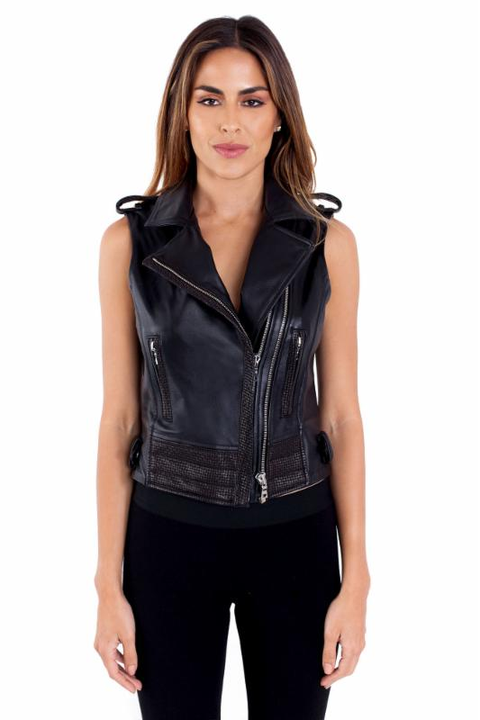 Caroline Black Leather Vest