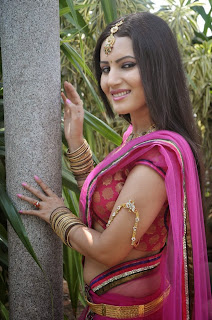 Anu Smrithi in Lovely Pink Saree and Choli Stunning Beauty