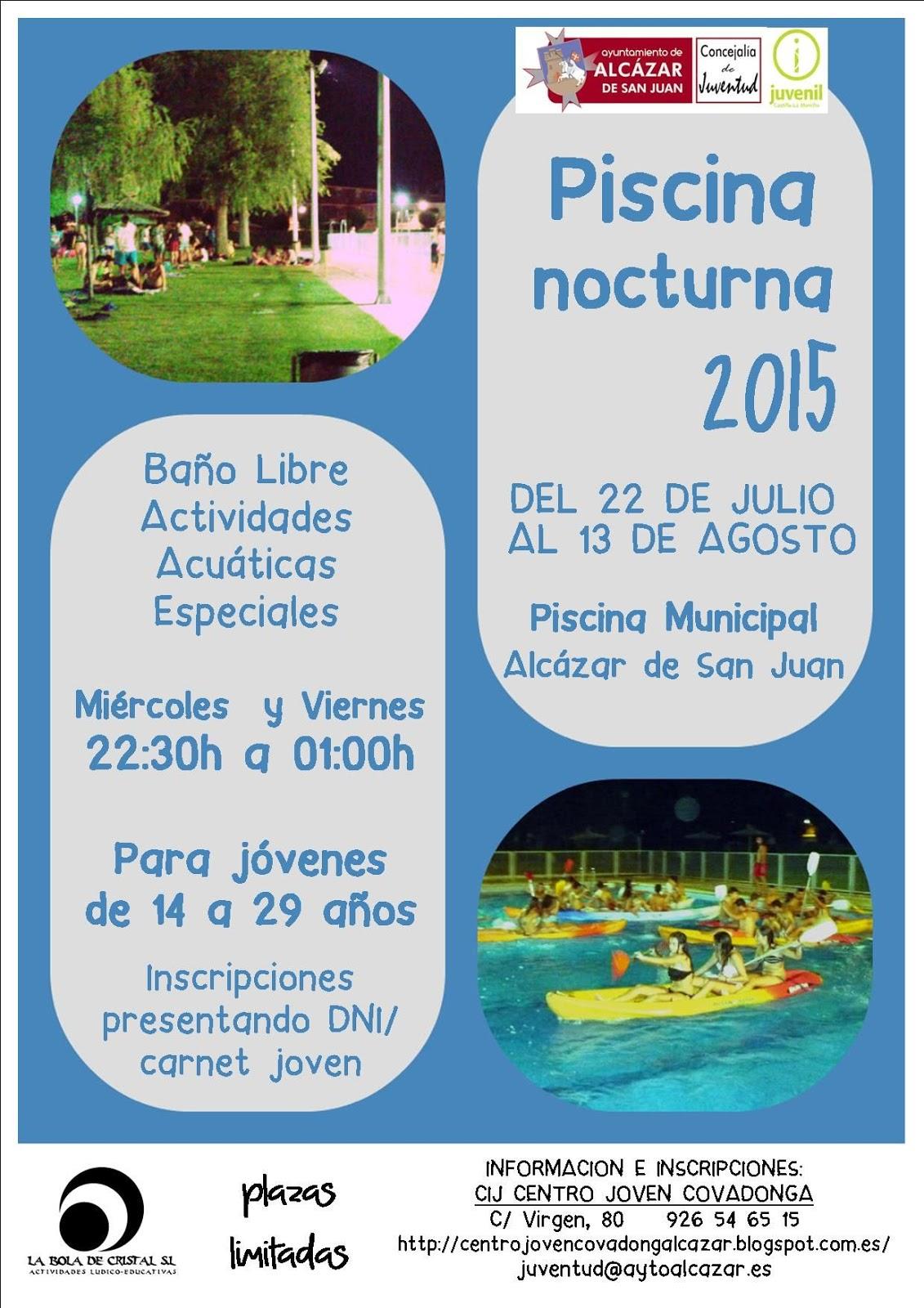 Piscina nocturna 2015 centro joven covadonga alcazar for Piscina alcazar de san juan