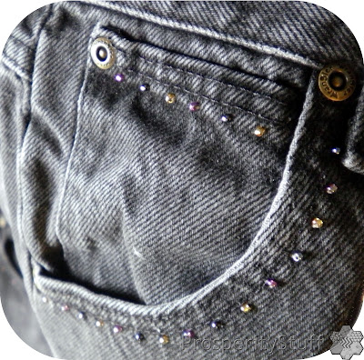 ProsperityStuff Black Jeans Quilt beads