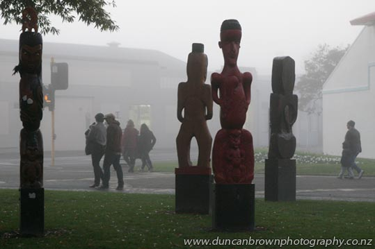 Nga Pou o Heretaunga in the fog, Civic Square, Hastings photograph