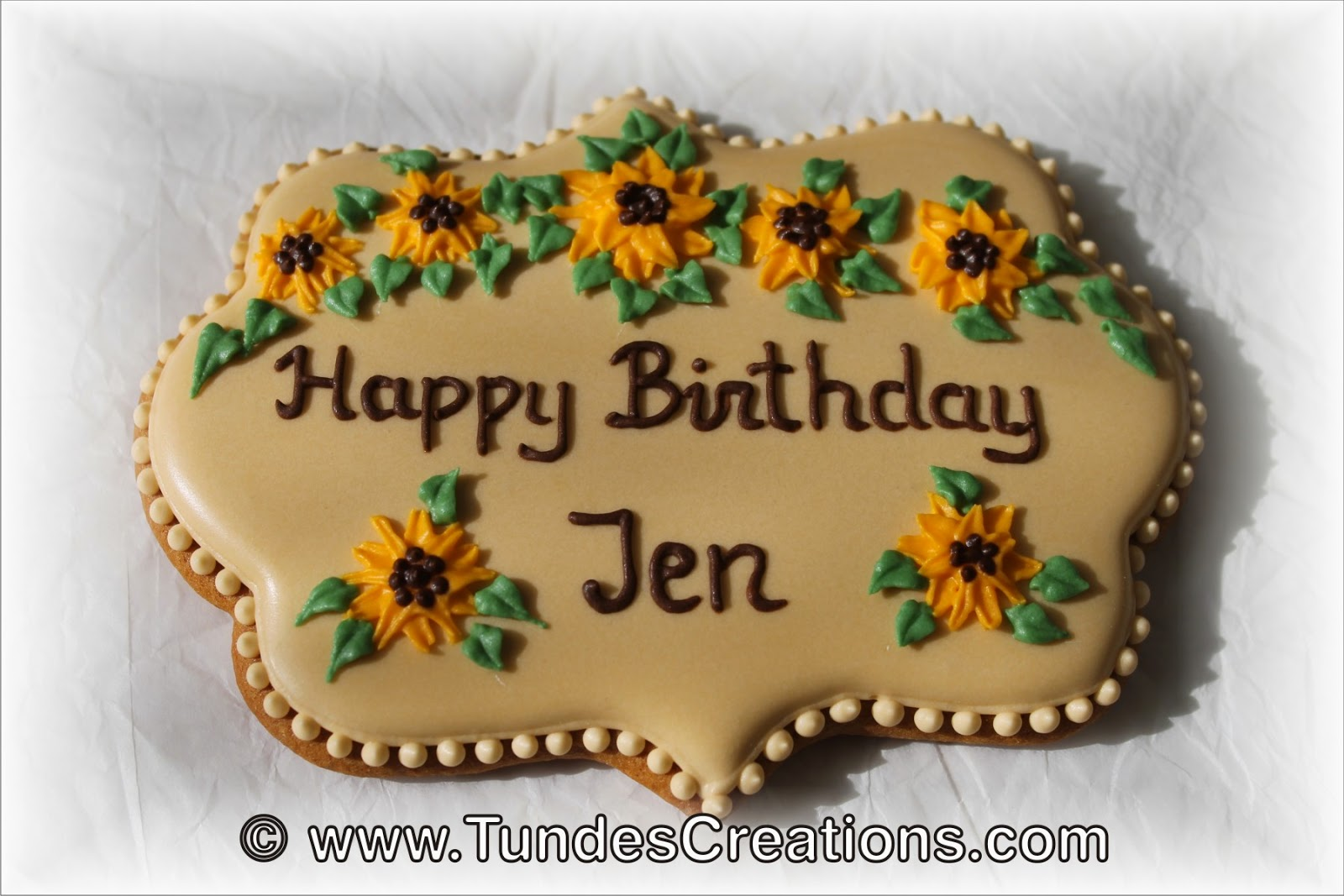 Sunflover birthday cookie