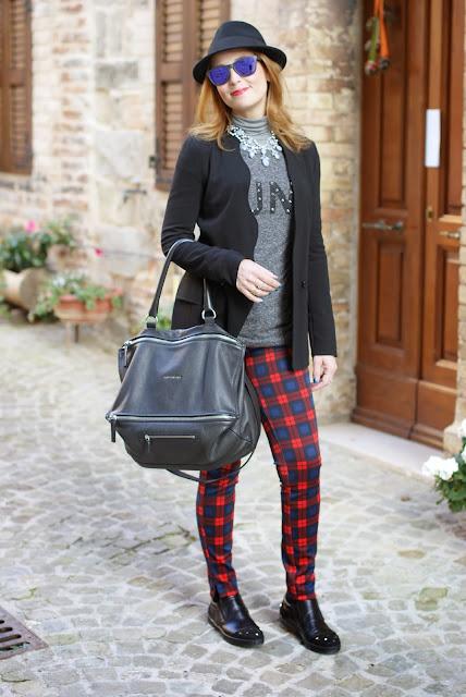 givenchy pandora bag, h&m fedora hat, zara plaid pants, roberto botticelli shoes, fashion and cookies, fashion blogger