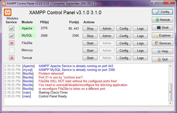 Рис 3 установщик xampp - выбор компонент