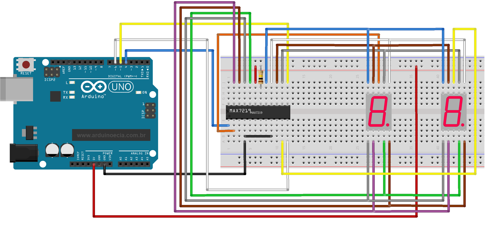 Circuito Max7219 e 2 displays 7 segmentos