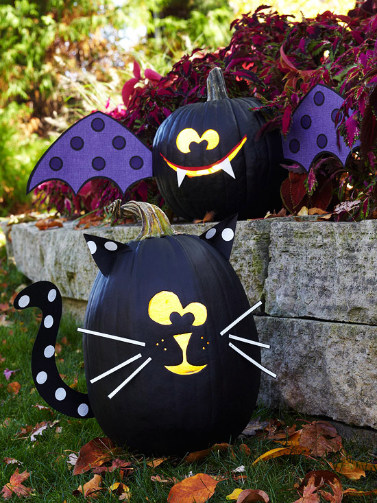Paint The Pumpkin Black Next Carve Out Face Add Whiskers And