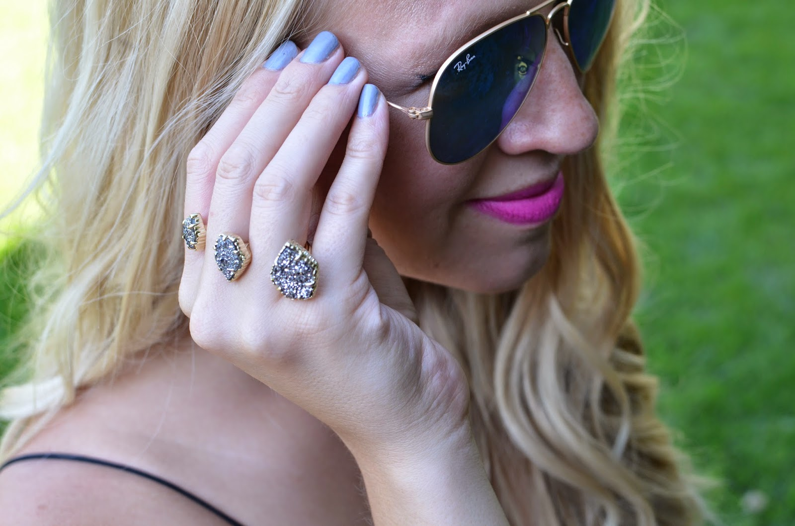 Kendra Scott Naomi Double Ring in Platinum Drusy