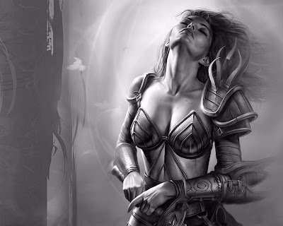 sexy black and white warrior woman art fantasy