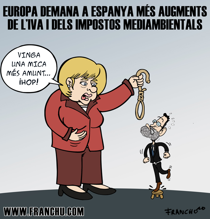 Vinyeta d'humor gràfic sobre la crisi i la pujada dels impostos a Espanya, feta pel dibuixant Franchu Llopis