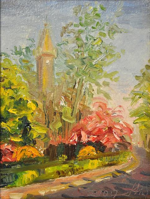 Alina Sala - widok na konecki kościół wiosną.