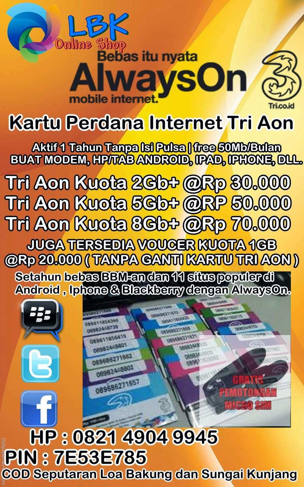 Jual Perdana Internet Tri Aon 3 Risshop Samarinda Voucer Paket Kartu Aktif 1 Tahun Tanpa Isi Pulsa Free 50mb Bulan Buat Modem Hp Tab Android