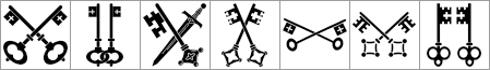 Medieval keys Heraldry shapes