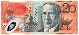 twenty australian dollar bank note with John Flynn, Royal Flying Doctor Service of Australia founder