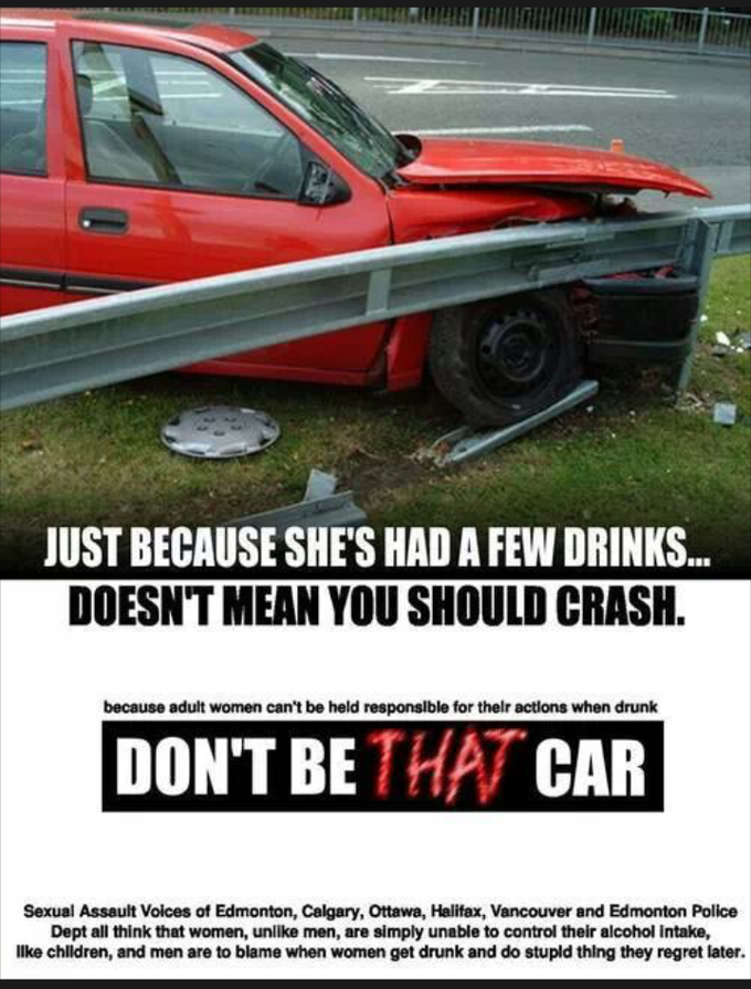 "Image of a parodied version of the ""Don't Be That Guy"" posters, including photo of a crashed car"