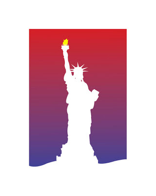 white shape of statue of liberty with a red and blue background