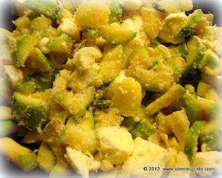 FRipieno per torta salata con zucchine,patate e salsiccia e mozzarella