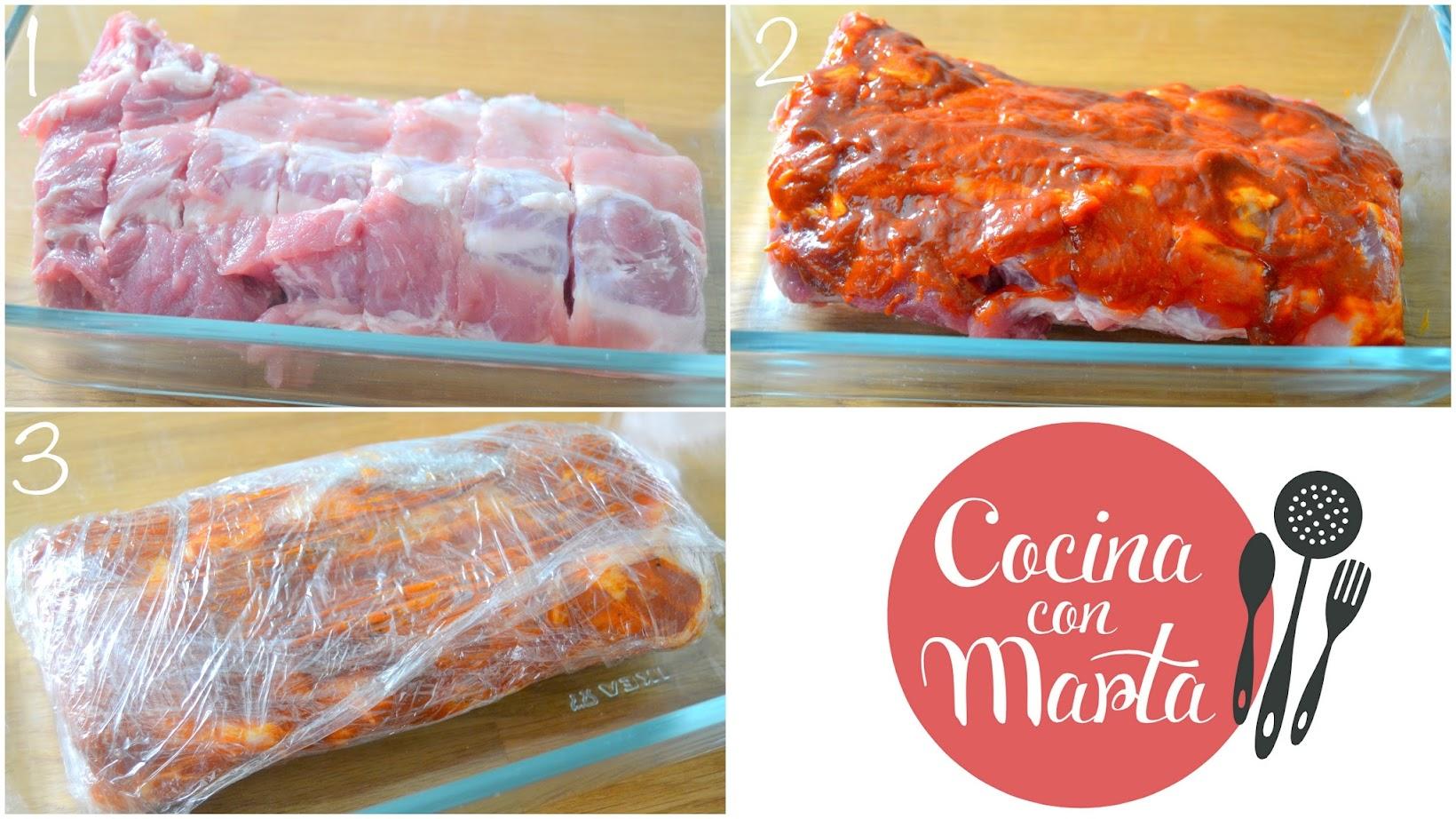Receta casera costillas a la barbacoa,  salsa casera barbacoa, fáci, rápida, costillar, recetas americanas, Cocina con Marta