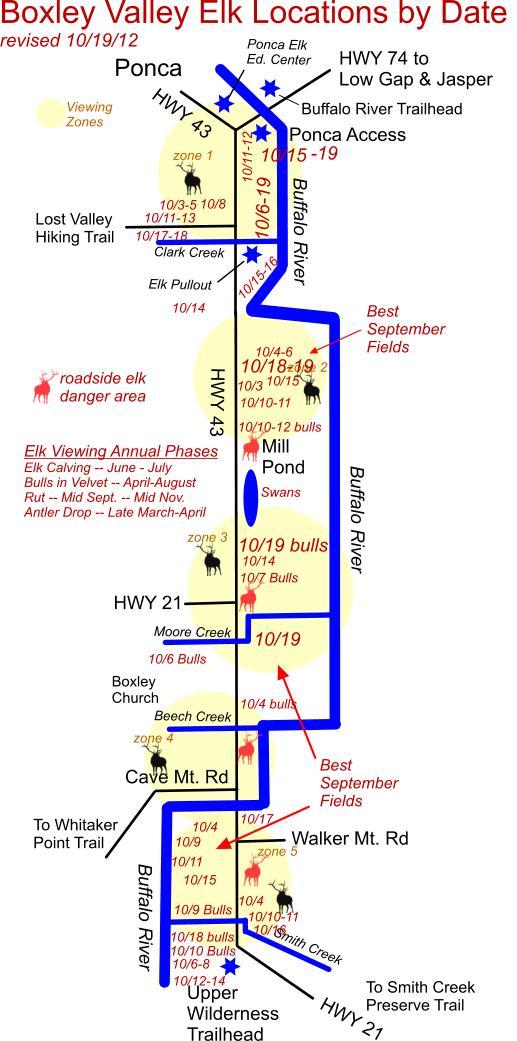 10/19/12 Elk Herd Locations in Boxley Valley near Ponca, AR