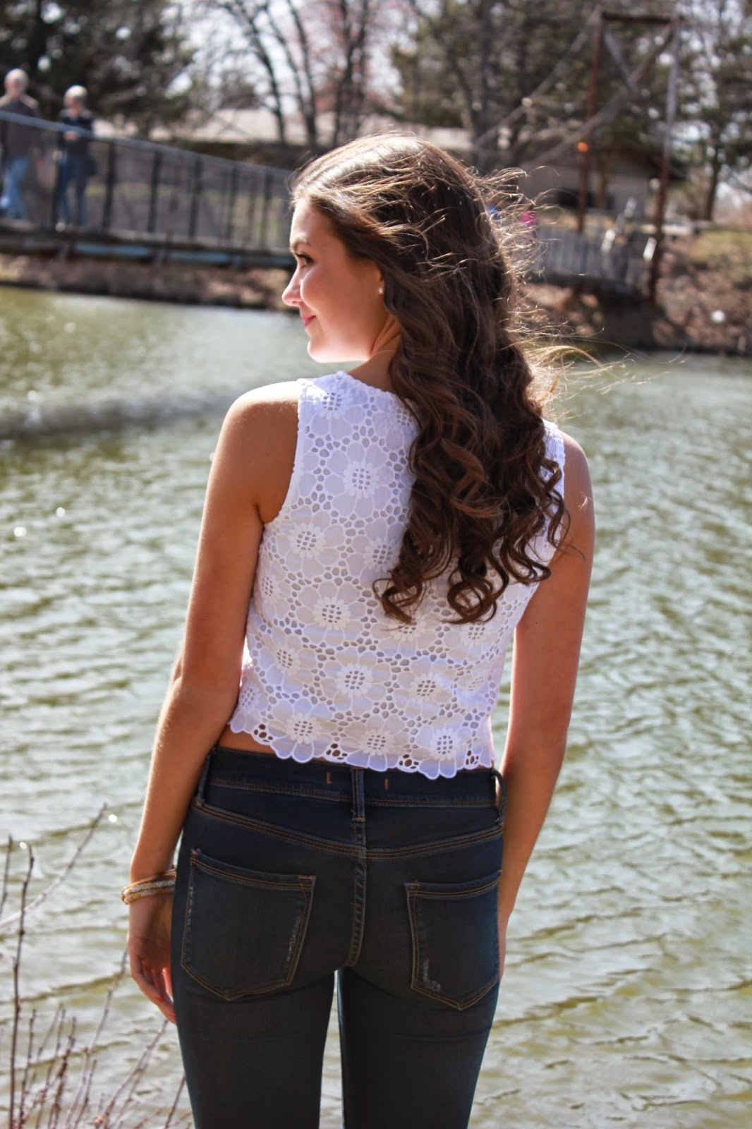 Lilly Pulitzer Lux Cropped Lace Top Anchors and Pearls