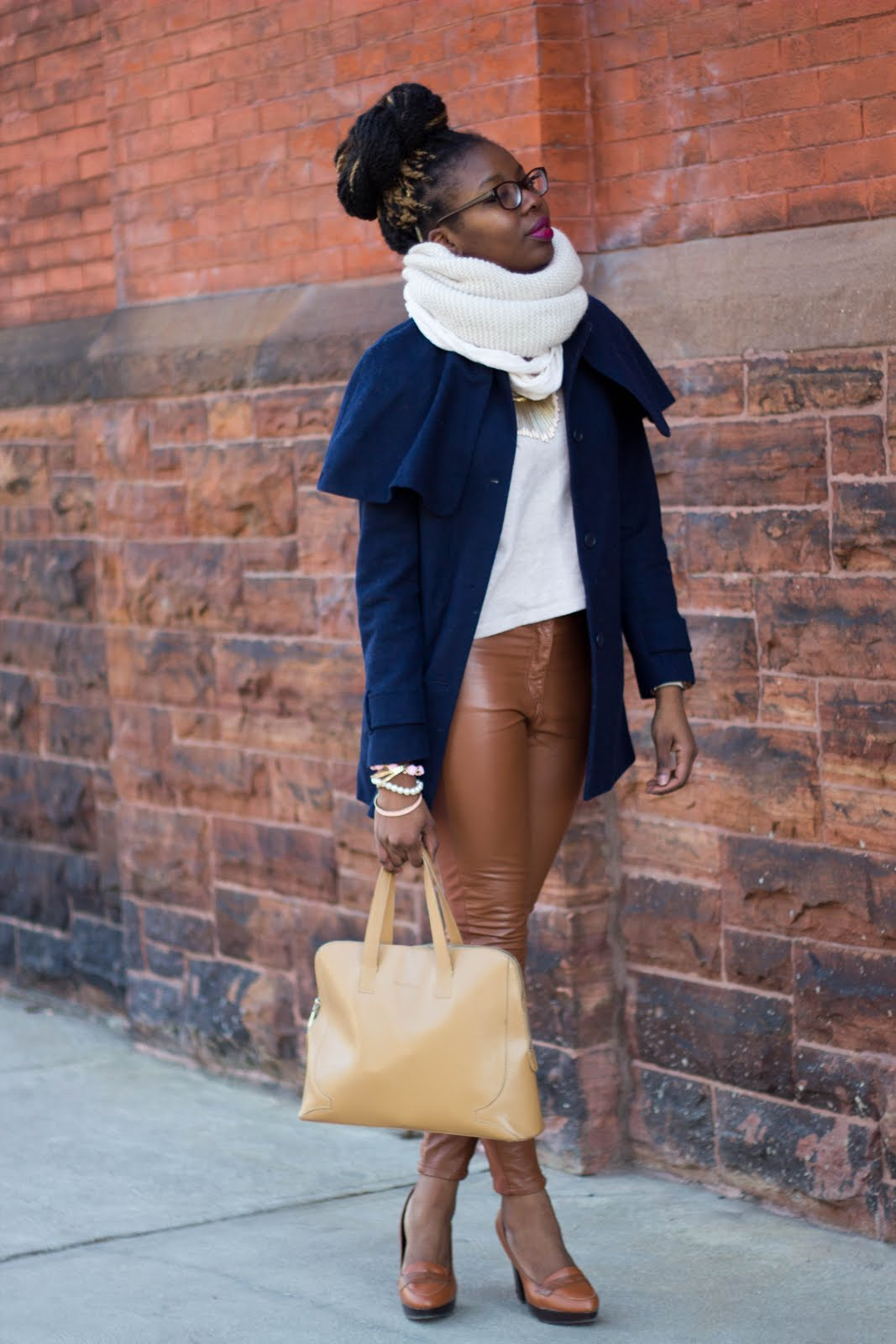 leather pants, cape coat