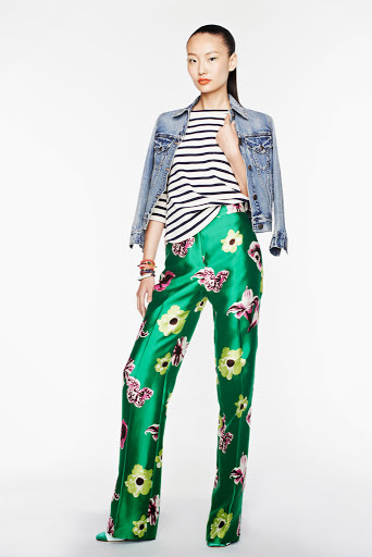 J.Crew look stripes paired with green silk floral trousers
