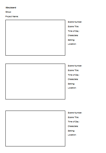Storyboard Template A2 Media Project